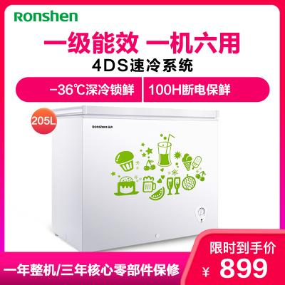 容聲(Ronshen)BD/BC-205MB 205升 頂開門 冷藏冷凍轉換冰柜 節能單溫冰箱 家用商用臥式冷柜(白)