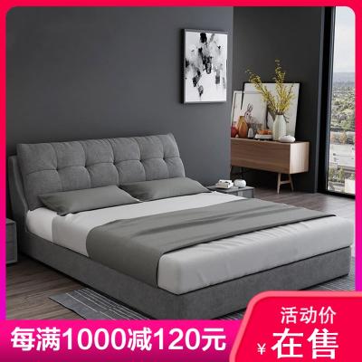 彤慕居布藝床小戶型網紅床雙人床1.5米1.8米簡約現代北歐實木儲物主臥軟包布床
