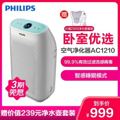 飛利浦(Philips)空氣凈化器AC1210/00 家用小面積臥室除甲醛霧霾PM2.5 靜音小型臥室清新機 除菌除病毒