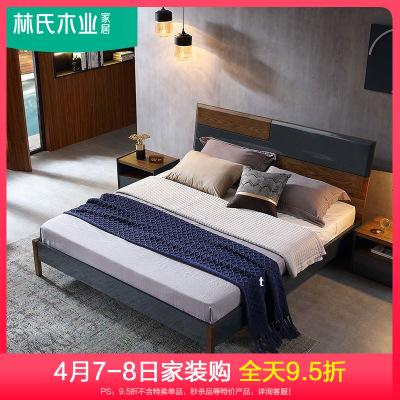 林氏木業小戶型實木腳雙人床簡約現代臥室板式床深色家具DY2A