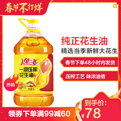 【春节不打烊】逸飞 特香压榨一级纯花生油 5L食用油