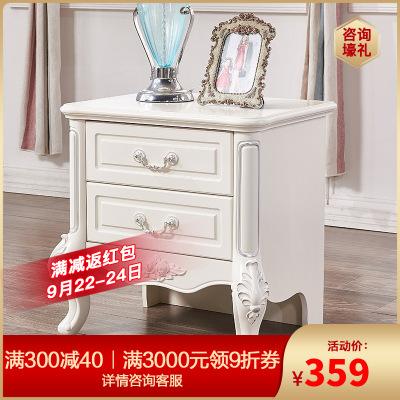 A家家具 田園臥室家具現代簡約法式雕花床頭柜實木三抽儲物柜收納柜床邊柜 其他FS0201-U