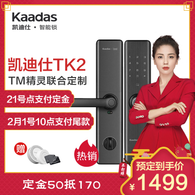 凯迪仕智能锁TK2 星空灰 智能指纹锁家用防盗门锁 磁卡锁电子锁密码锁