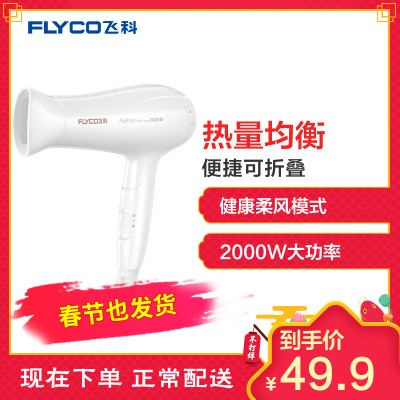 飞科(FIYCO)电吹风FH6232 2000瓦功率快速干发六档调节可折叠家用电吹风