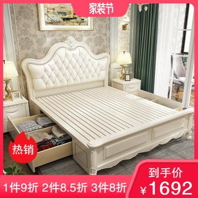 實木床歐式雙人床白色現代簡約橡木床1.5米1.8米2.0米雙人美式婚床臥室公主高箱儲物床