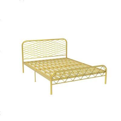 北歐ins網紅風斯黛拉金色雙人鐵床極簡設計師1.8米床鐵藝床成人 1500mm*1900mm_金色(龍骨板