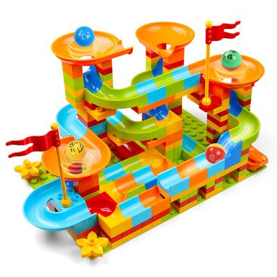 OMKHE 大顆粒積木拼裝玩具男孩2-3-4-6歲兼容樂高積木202顆滑道兒童軌道積木塑料無異味女孩早教益智拼插玩具
