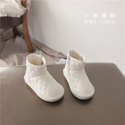 热卖韩版儿童鞋简约雪地靴子低筒宝宝保暖男女童菱格棉鞋防水防滑短靴