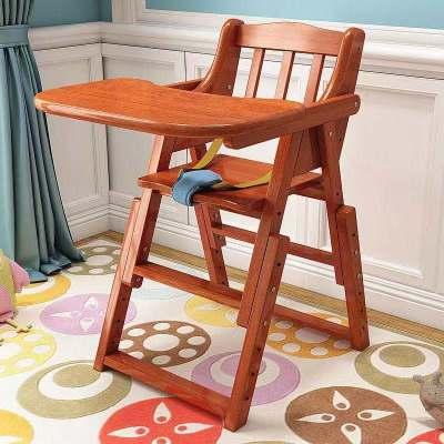 华子 实木儿童餐椅实木儿童餐椅宝宝座椅一键折叠儿童座椅免装带餐盘高度可调6档调节酒店用品bb凳带餐椅