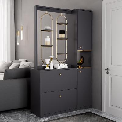 汐巖意式輕奢靠墻玄關隔斷柜現代家庭客廳家用進一體間廳柜簡約鞋柜