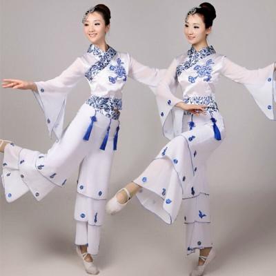青花瓷秧歌演出服女成人民族舞蹈服飾古箏古典舞服民族風表演服裝 青花舞蹈服