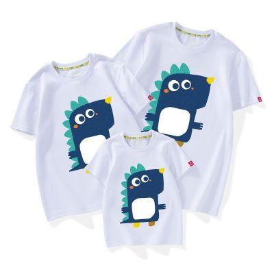 薄款趣味純棉短袖T恤藍恐龍2020年新款潮春夏裝親子裝家庭裝
