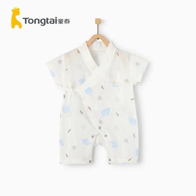 童泰2020年夏季新款嬰兒衣服0-6月新生兒家居偏開連體短袖純棉紗布哈衣