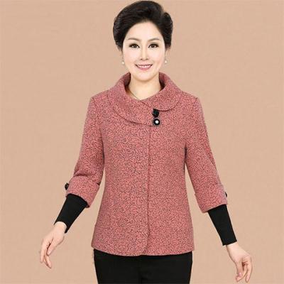 情嬌婷(QINGJIAOTING)中年女裝媽媽裝秋裝長袖外套中老年人寬松大碼短款夾克