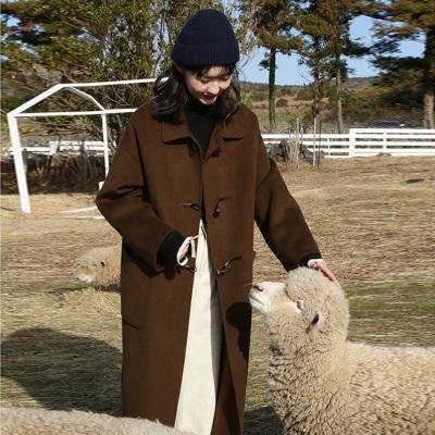 佐露絲RALOS2020年牛角扣中長款學院風呢子大衣女冬季新款復古加厚保暖過膝毛呢外套