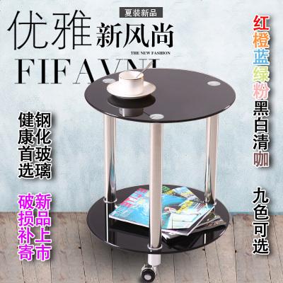 HOTBEE带滚轮移动小圆桌双层钢化玻璃小茶几小桌电话桌置物架移动茶水桌