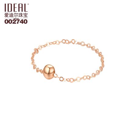 愛迪爾珠寶IDEAL K金鏈戒指18K金簡約個性精美學生時尚光珠鏈戒 18K金鏈珠戒-黃金色(備注圈口)