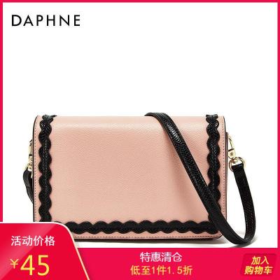 Daphne/達芙妮花邊兒裝飾經典赫本風斜挎包小方包女1018183024