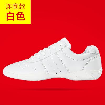 竞技健美比赛训练女软底儿童成人跳鞋爵士广场白色舞蹈鞋