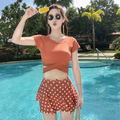 2020新款游泳衣女士韓國ins小清新修身顯瘦比基尼古達分體裙式泳裝