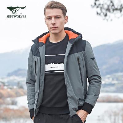七匹狼棉衣男裝加厚款保暖拼接撞色連帽棉服2019冬季男士運動外套