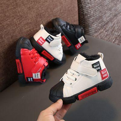 童鞋冬季加絨皮短靴低幫棉鞋男孩1-5歲加厚保暖女寶學步鞋小紅鞋2威珺