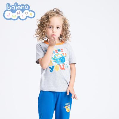 baleno班尼路童裝 中大童兒童圓領純棉T恤 男女童超級飛俠印花純棉短袖體恤t