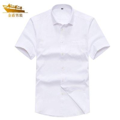 金盾(KIN DON)男裝夏季新款男士襯衫商務休閑純色短袖襯衫男外套衣服-PG