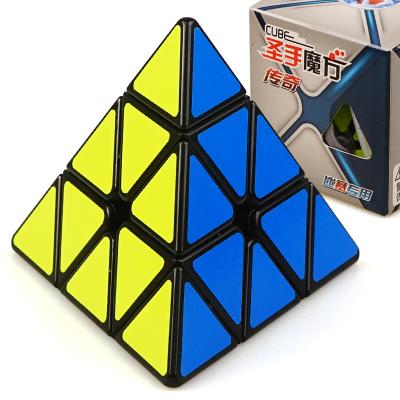 圣手7220A 傳奇金字塔魔方 專業比賽異形魔方三角形異型玩具 兒童男孩女孩益智玩具減壓順滑魔方 黑色