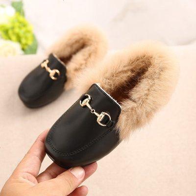 2019新款韓版女童公主毛毛兒童皮鞋加絨保暖豆豆鞋一腳蹬軟底瓢鞋
