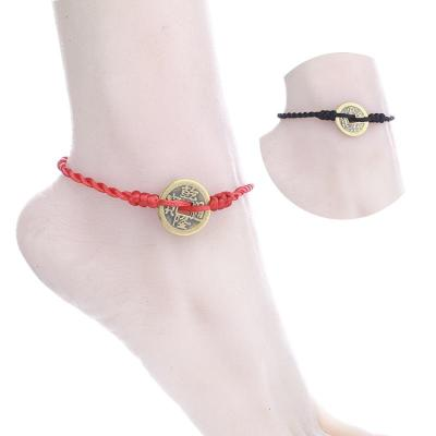 紅繩腳鏈男士腳鏈女腳繩民族風簡約配飾復古個性黑繩腳鐲情侶飾品