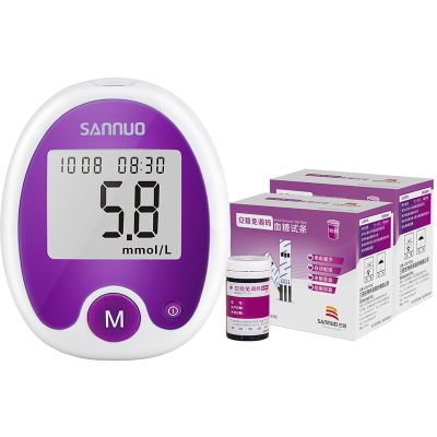 三諾(SANNUO) 三諾安穩免調碼血糖試紙套裝 血糖儀+100支瓶裝血糖試紙 送等量采血針