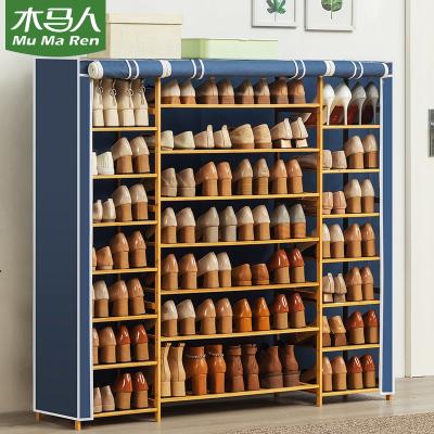 木马人 简易带布套多功能小鞋架客厅玄关柜子多层实木质带门鞋柜简约家用换鞋凳防尘鞋架子多容量鞋凳置物架
