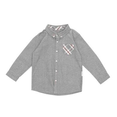 【清倉 售完即止】全棉時代麻灰男童梭織長袖襯衫, 1件裝