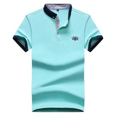 富貴鳥 夏季短袖t恤男士半袖翻領POLO衫商務休閑寬松純棉藍色條紋上衣男