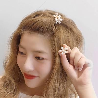 網紅珍珠抓夾女小號發夾韓國頭飾百搭ins風簡約甜美花朵迷你發卡