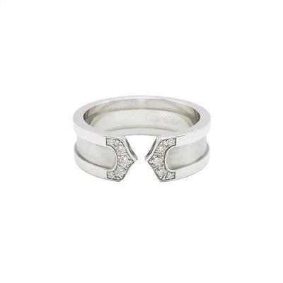 【正品二手95新】卡地亚(CARTIER)白金双C 镶钻款 装饰 戒指 53号 B4044200 含盒保卡