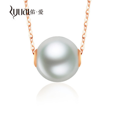 Ryual 18K金项链珍珠吊坠套装 黄金玫瑰金项链珍珠8-9mm计价款 长约40-45cm可调节送恋人女友