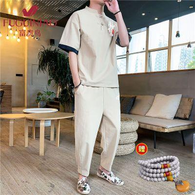富貴鳥2020年新款中國風夏季新款男士復古印花漢服風衣套裝青年休閑大碼寬松唐裝男