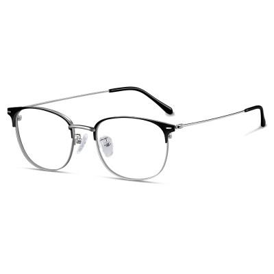 普萊斯(pulais)眼鏡男復古防輻射平光近視眼鏡架女可配眼鏡護目鏡片 3617 黑銀 【配鏡需聯系客服】