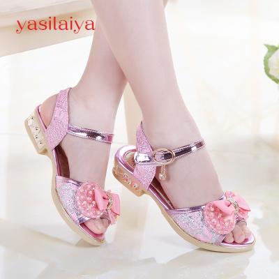 yasilaiya女童涼鞋2020新款兒童鞋韓版女孩涼鞋水鉆中大童公主鞋寶寶鞋