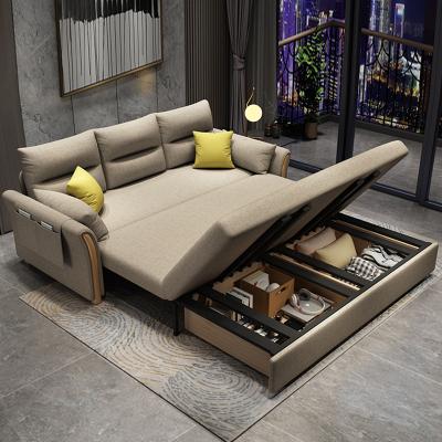 歐梵森 多功能簡約現代可折疊的實木沙發床兩用經濟型小戶型家用北歐推拉海綿乳膠