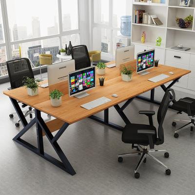 腾煜雅轩 人造板式办公室家具 电脑桌台式简约现代职员办公桌4人位卡座主管经理大班台 办公屏风工位
