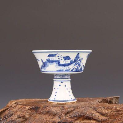 大清康熙年制 青花山里人家 高足杯 宫杯 古董瓷器古玩古瓷器收藏