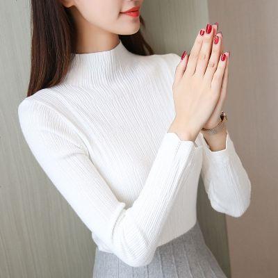 半高领毛衣女打底衫长袖短款上衣秋冬新款洋气套头修身紧身针织衫