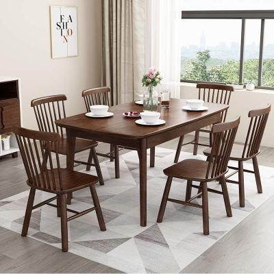 一米色彩 实木餐桌椅组合 饭桌 北欧简约现代橡胶木质原木色1.3米1.5米1.6M小户型日式宜家家用 餐厅家具