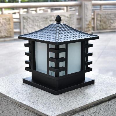 LED柱頭燈方形圍墻燈戶外防水大燈柱燈別墅花園庭院燈墻頭燈 25cm瓦頂古銅色(不銹鋼)