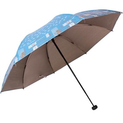 天堂傘 彩膠防紫外線三折黑桿鋼骨晴雨傘
