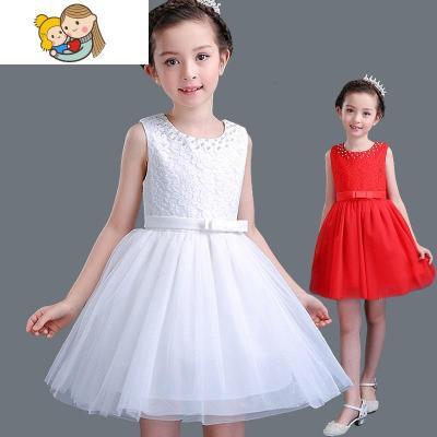 女童連衣裙夏3-5-6-8-10-12歲兒童裙子夏季演出白紗裙紅色公主裙
