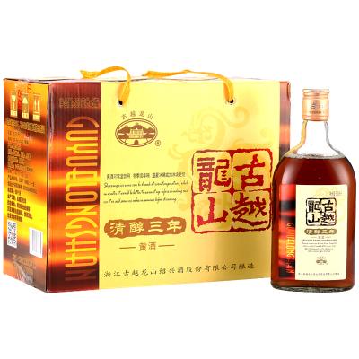 古越龍山 紹興黃酒 花雕酒糯米酒 半甜型 清醇三年 500ml*6瓶 整箱裝 送禮佳品